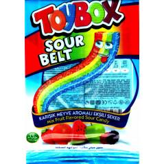 ToyBox sour Belt - Bonbons Halal Rubans acidulés sucrés multifruit - Sachet de 80 g