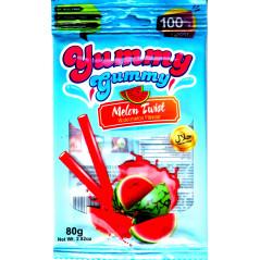 Yummy gummy Melon Twist : Bonbons Halal Saveur pastèque - Sans allergènes - Sachet de 100 g
