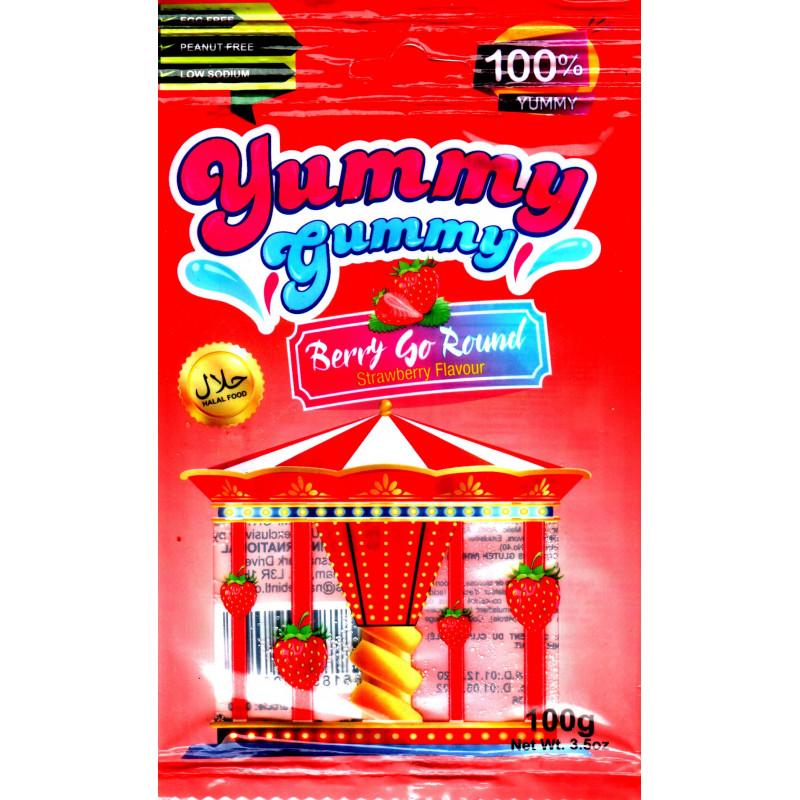 Yummy Gummy Berry Go Round : Bonbons Halal Saveur Fraise - Sans allergènes - Sachet de 100 g
