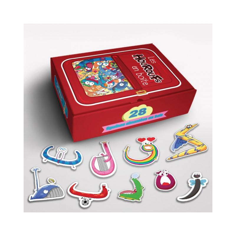Les Houroufs en boîte - 28 Figurines aimantées en bois - Le Monde des Houroufs