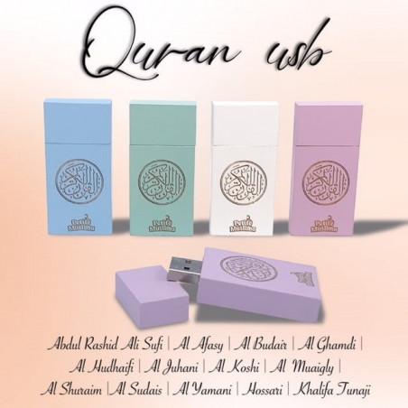 Clé USB 16 Go avec le Saint Coran MP3 complet récité entièrement par plusieurs récitateurs - Couleur Rose