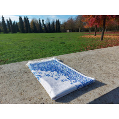 Tapis de Prière Fin (Coton/Polyester) - motif arabesque floral - couleur BLEU