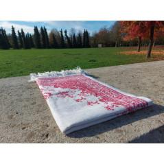 Tapis de Prière Fin (Coton/Polyester) - motif arabesque floral - couleur ROUGE