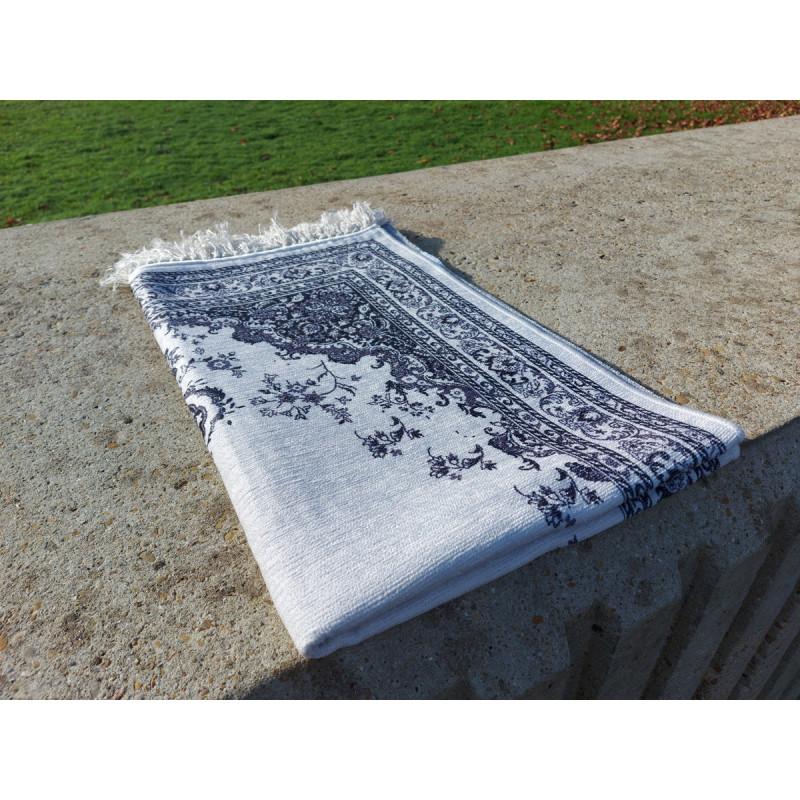 Tapis de Prière Fin (Coton/Polyester) - motif arabesque floral - couleur NOIR