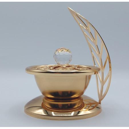 Encensoir / brûleur d'encens métallique doré - COUPE SUCRIER FEUILLE - REF599
