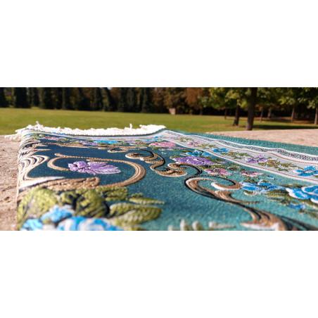 Tapis de Prière en polyester - Motifs brodés arabesques florales - couleur dominante VERT