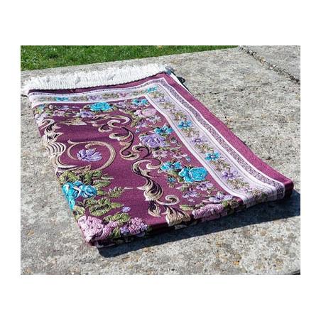 Tapis de Prière en polyester - Motifs brodés arabesques florales - couleur dominante BORDEAU
