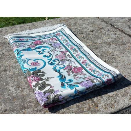 Tapis de Prière en polyester - Motifs brodés arabesques florales - couleur dominante SABLE