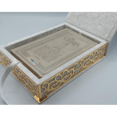 COFFRET CORAN LUXE - Grand Format + Coran FR/AR - Couleur BLANC