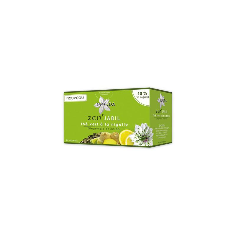 Thé vert à la nigelle (gingembre et citron)