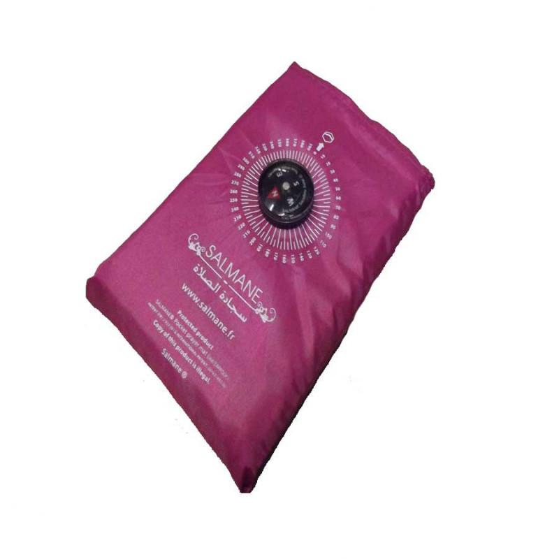 Tapis de prière de poche avec boussole (col. rose)
