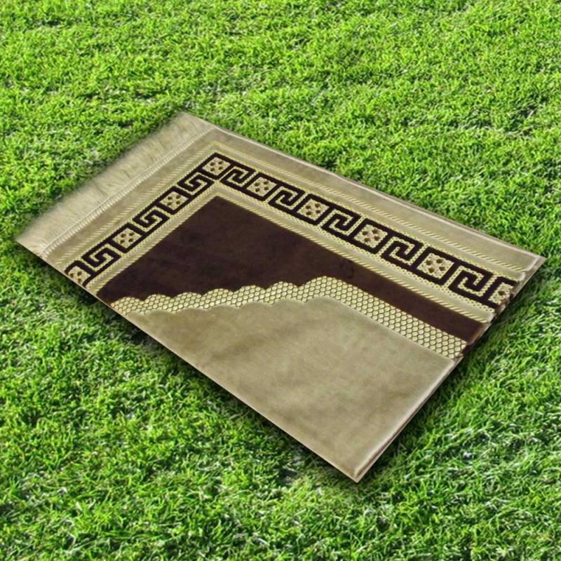 Tapis prière velours luxe-couleur marron argile