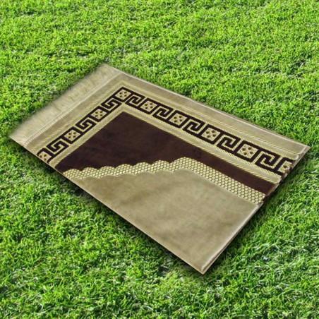 Tapis prière velours luxe - couleur marron argile