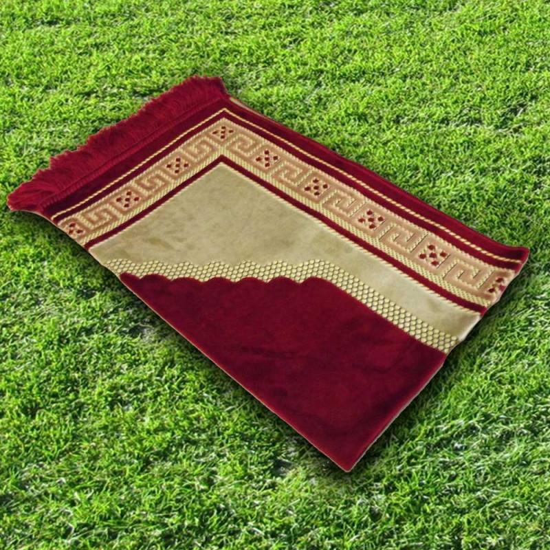 Tapis prière velours luxe- couleur rouge carmin