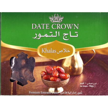 Datte Crown (Khalas) : Dattes bio Emiratis qualité supérieure, Boite 1 kg