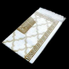 "Tapis velours opalescent, couleur Or, Motif central ""Kaaba"""