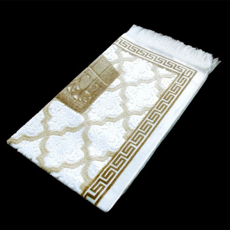 """Tapis velours opalescent, couleur Or, Motif central """"Kaaba"""""""