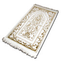 "Tapis velours opalescent, couleur Or, Motif central ""arabesques"""