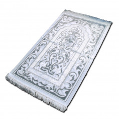"Tapis velours opalescent, couleur Argent, Motif central ""arabesque"""