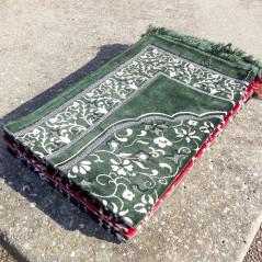 Tapis de Prière en Velours - Motif Jardin - Fond Vert Sapin