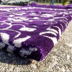 Tapis de Prière en Velours - Motif Jardin - Fond Violet Foncé