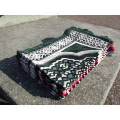 Tapis de Prière en Velours - Motif géométrique - Fond Vert Sapin