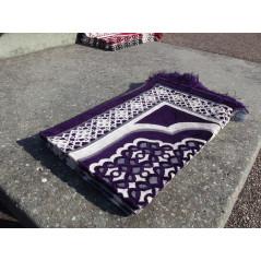 Tapis de Prière en Velours - Contour géométrique - Fond Violet foncé