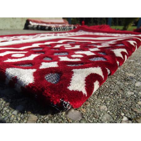 Tapis de Prière en Velours - Contour géométrique - Couleur Fond Rouge écarlate