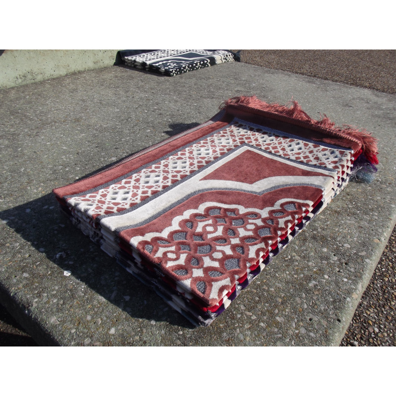 Tapis de Prière en Velours - Motif géométrique - Fond Marron Claire