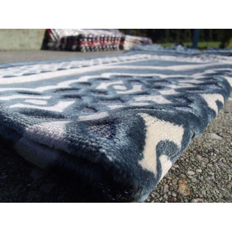 Tapis de Prière en Velours - Contour géométrique - Couleur Fond Bleu Ardoise
