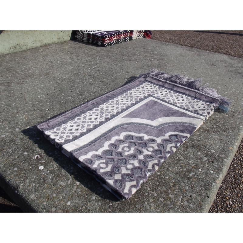 Tapis de Prière en Velours - Contour géométrique - Fond Violet Claire
