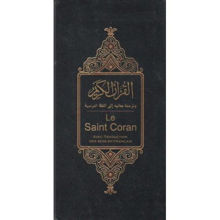 Le saint coran (Format Poche long) avec traduction des sens en Français par Muhammad Hamidullah, Coran Hafs , (Arabe-Français)