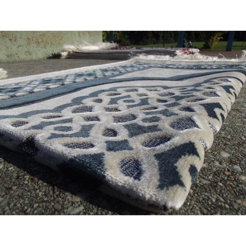 Tapis de Prière en Velours - Contour géométrique - Fond Sable - COULEUR BLEU ARDOISE