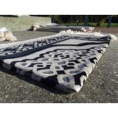 Tapis de Prière en Velours - Contour géométrique - Fond Sable - COULEUR BLEU NUIT
