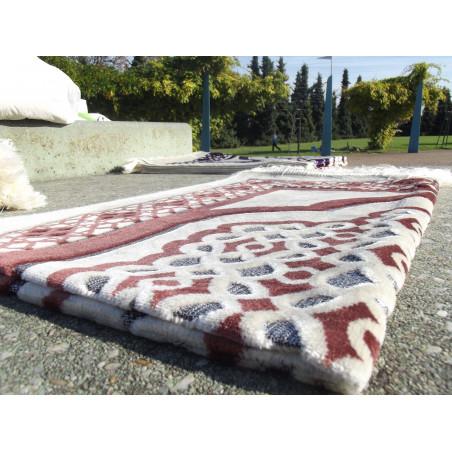Tapis de Prière en Velours - Contour géométrique - Fond Sable - COULEUR SAUMON