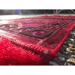 Tapis de Prière Velours Luxe couleur nuancée - motifs incrustés - COULEUR ROUGE CORAIL