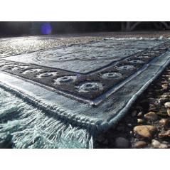 Tapis de Prière Velours Luxe couleur nuancée - motifs incrustés - COULEUR VERT ARDOISE