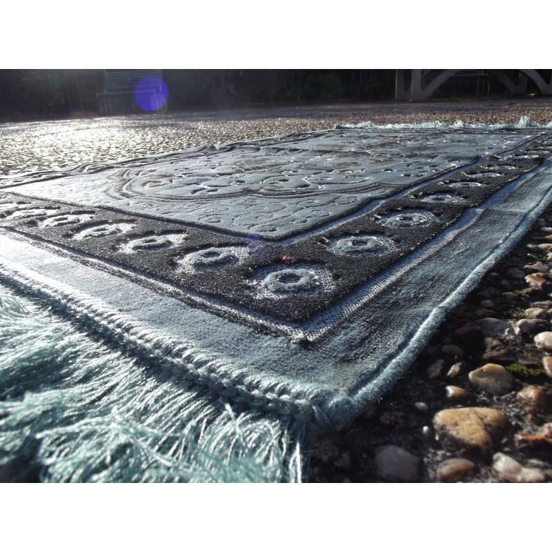 Tapis de Prière Velours Luxe couleur unie - motifs incrustés - COULEUR VERT ARDOISE
