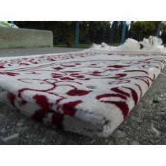 Tapis de Prière en Velours - Motifs jardin - Fond Sable - COULEUR ROUGE