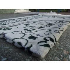 Tapis de Prière en Velours - Motifs jardin - Fond Sable - COULEUR VERT SAPIN