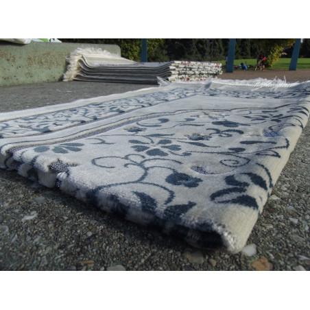 Tapis de Prière en Velours - Motifs jardin - Fond Sable - COULEUR BLEU ARDOISE