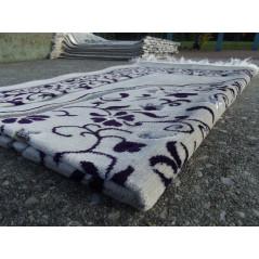 Tapis de Prière en Velours - Motifs jardin - Fond Sable - COULEUR VIOLET FONCÉ