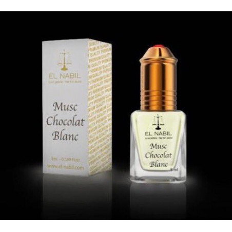 El Nabil Musc Chocolat Blanc – Parfum concentré sans alcool mixte- Flacon roll-on de 5 ml