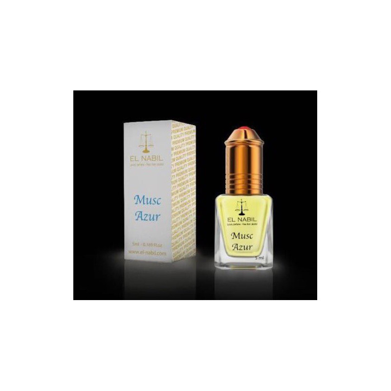 El Nabil Musc Azur– Parfum concentré sans alcool mixte- Flacon roll-on de 5 ml