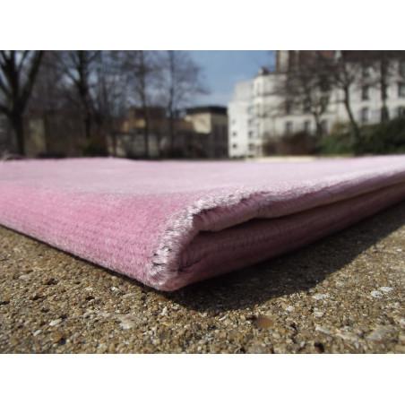 Tapis de Prière Velours Luxe couleur unie - ROSE PASTEL