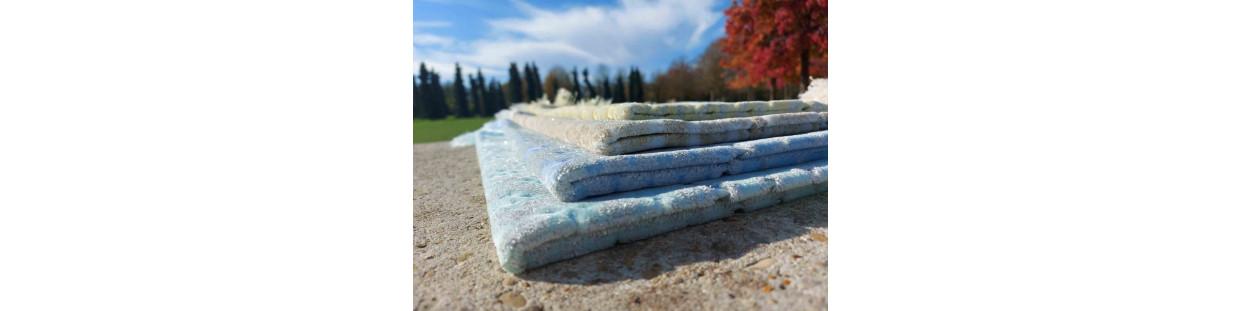 Tapis de Prière en Velours - Opalescents - motifs incrustés - Couleurs nuancées chaudes