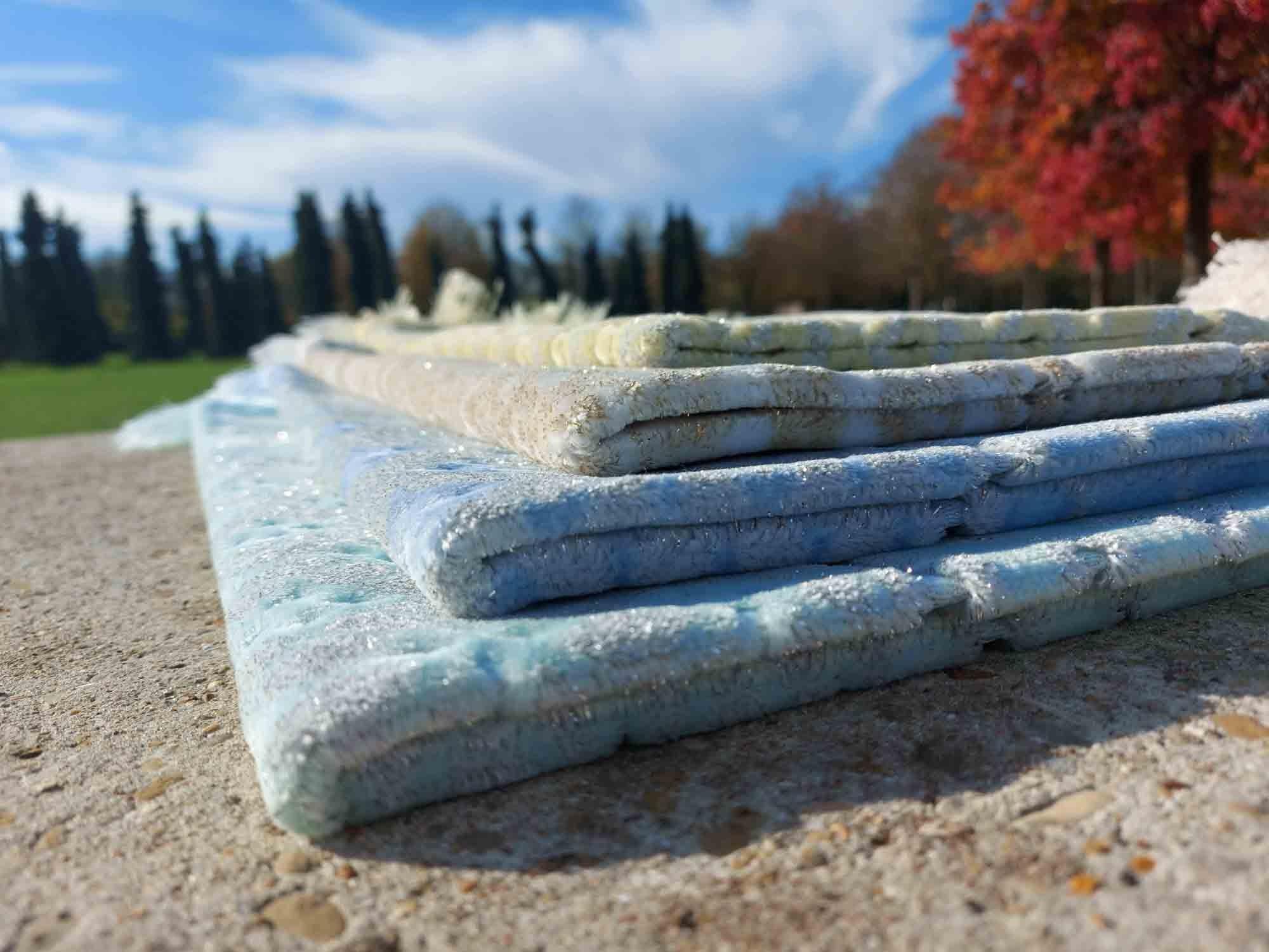 Tapis de Prière - Opalescents DORÉE - motifs incrustés - Couleurs nuancées  pastels